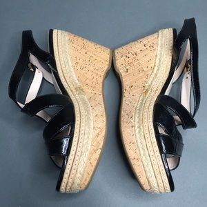 Prada Patent Leather Cork Wedges Size 9